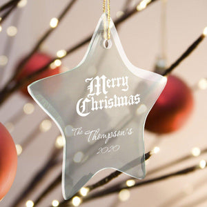 Personalized Ornaments - Christmas Ornaments - Glass - Star Shape-Personalized Gifts