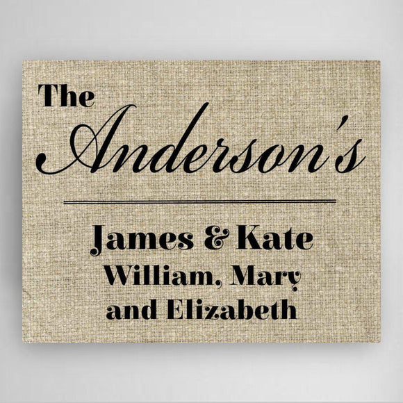 Personalized Our Family Canvas Sign-Personalized Gifts
