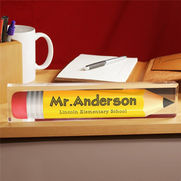 Personalized Pencil Acrylic Name Plate-Personalized Gifts