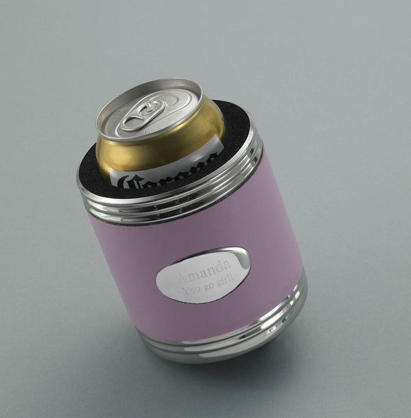 Personalized Pink Leather Can Cooler - new-Personalized Gifts