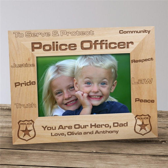 Personalized Police Officer Wood Picture Frame-Personalized Gifts