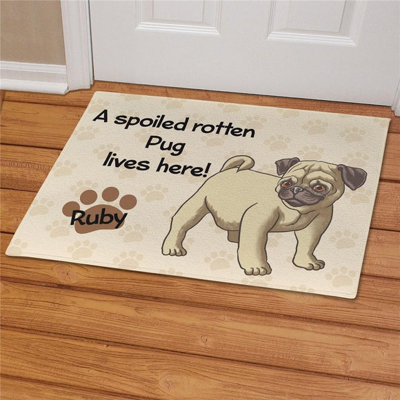 Personalized Pug Spoiled Here Doormat-Personalized Gifts