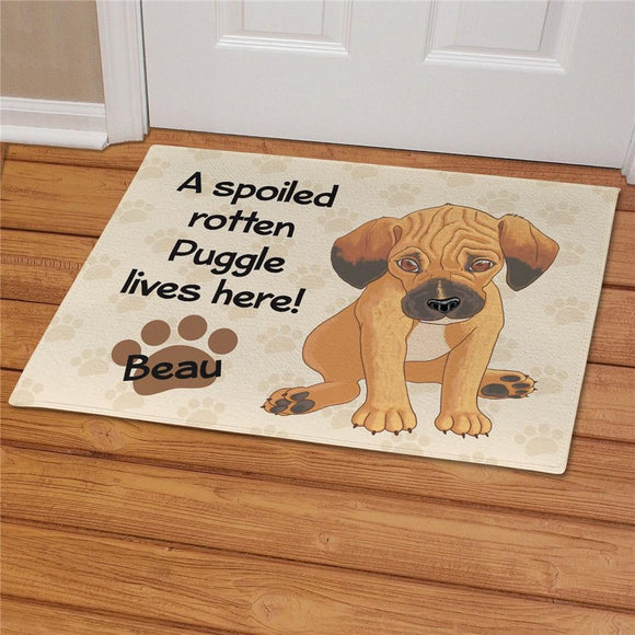 Personalized Puggle Spoiled Here Doormat-Personalized Gifts