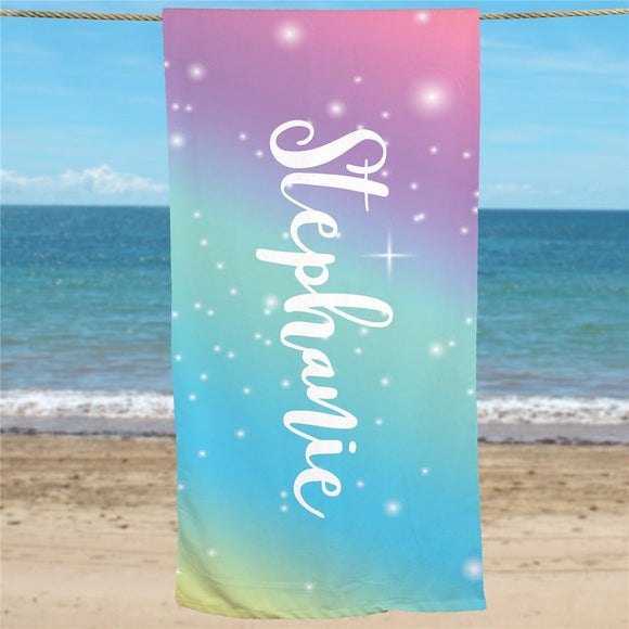 Personalized Rainbow Beach Towel-Personalized Gifts