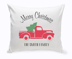 Personalized Red Christmas Truck Throw Pillow-Personalized Gifts