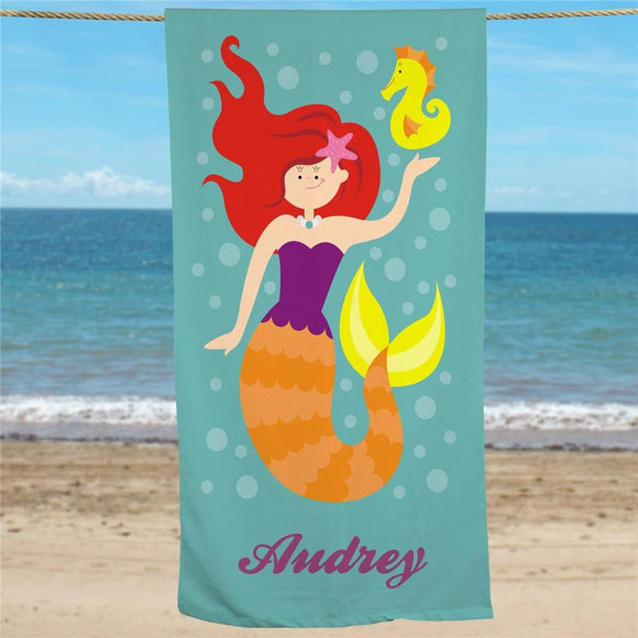 Personalized Red Hair Mermaid Beach Towel-Personalized Gifts