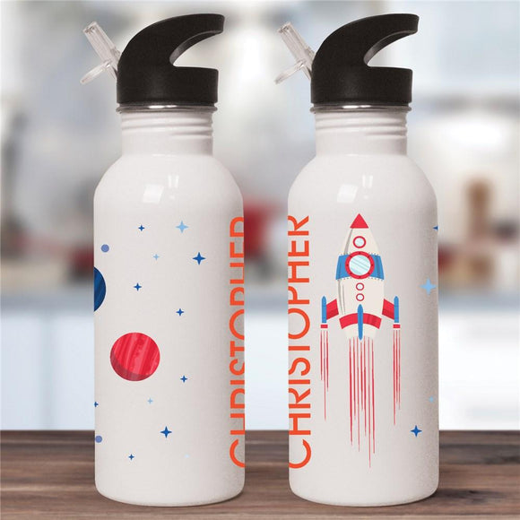 Personalized Rocket Ship With Planets Water Bottle-Personalized Gifts