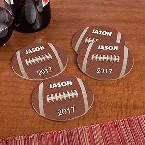 Personalized Round Football Coaster Set-Personalized Gifts