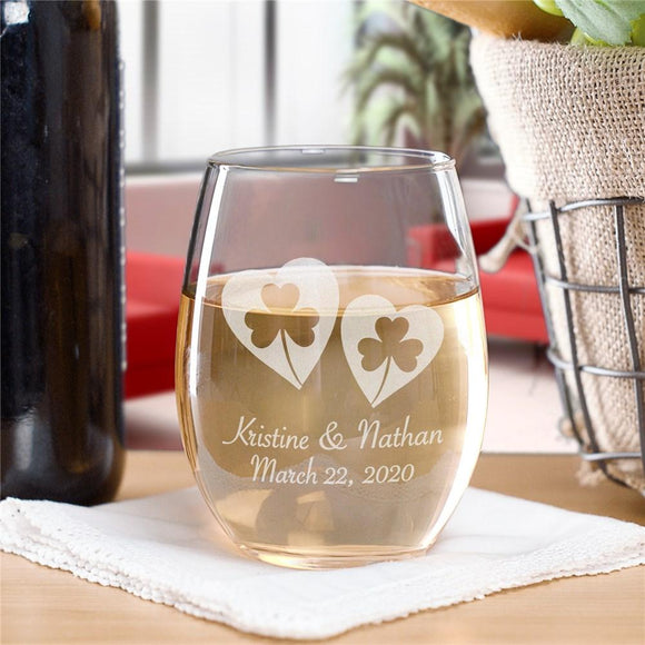 Personalized Shamrock Hearts Stemless Wine Glass-Personalized Gifts