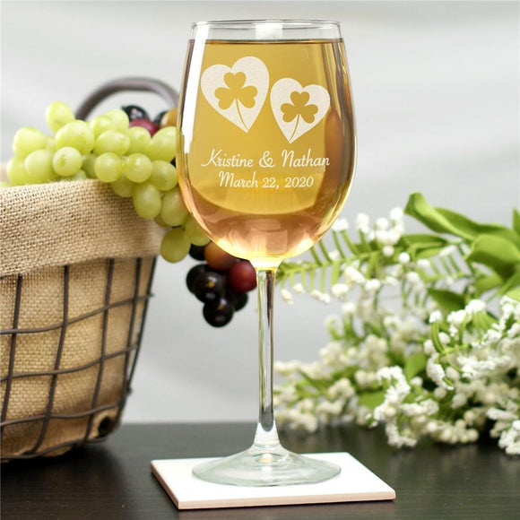 Personalized Shamrock Hearts Wine Glass-Personalized Gifts