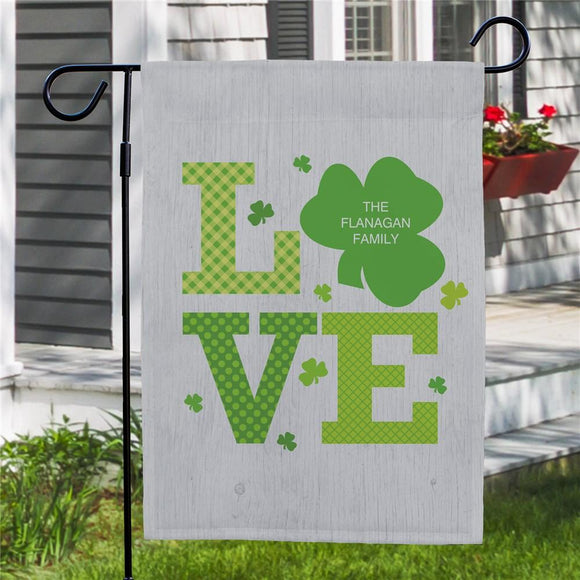 Personalized Shamrock Love Garden Flag-Personalized Gifts
