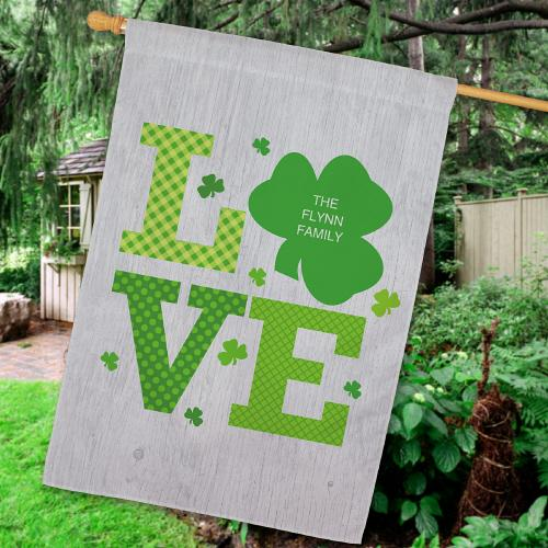 Personalized Shamrock Love House Flag-Personalized Gifts