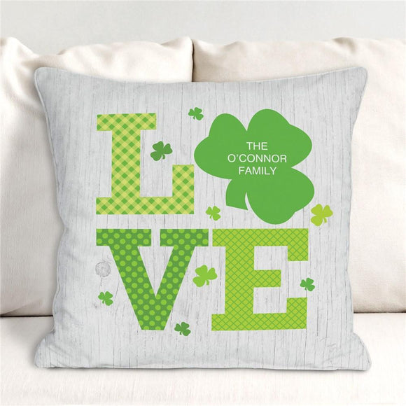 Personalized Shamrock Love Throw Pillow-Personalized Gifts