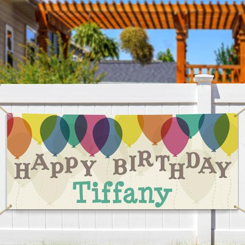Personalized Sheer Balloons Birthday Banner-Personalized Gifts
