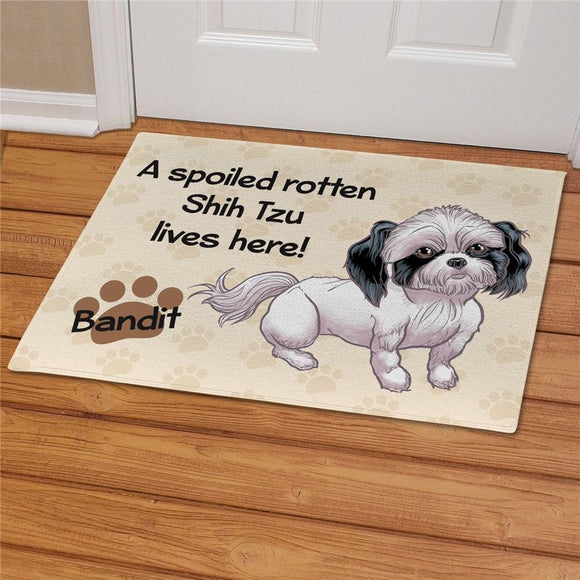 Personalized Shih Tzu Spoiled Here Doormat-Personalized Gifts