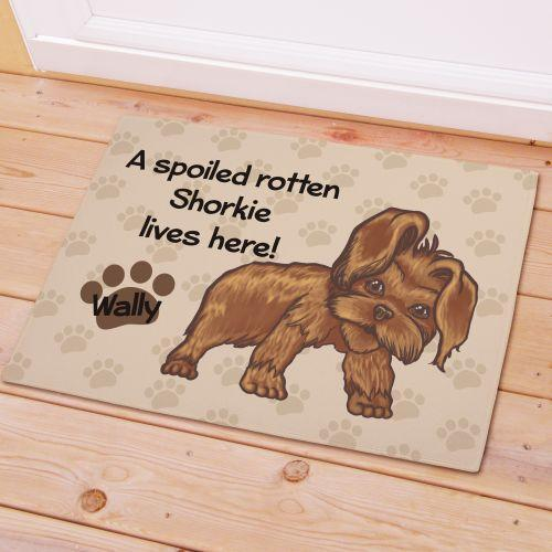 Personalized Shorkie Spoiled Here Doormat-Personalized Gifts