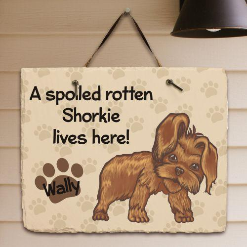Personalized Shorkie Spoiled Here Slate Plaque-Personalized Gifts