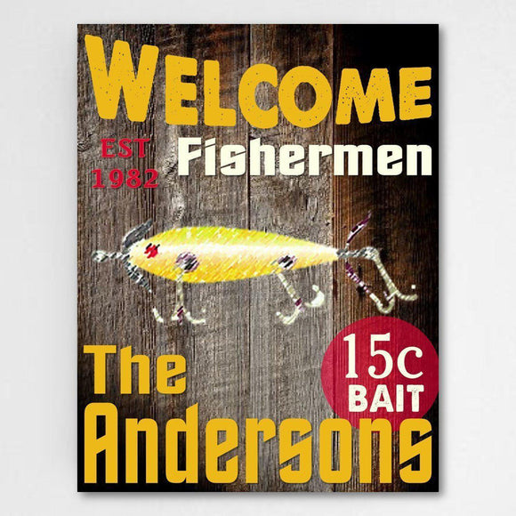 Personalized Signs - Cabin Decor - Fisherman Signs - Canvas-Personalized Gifts