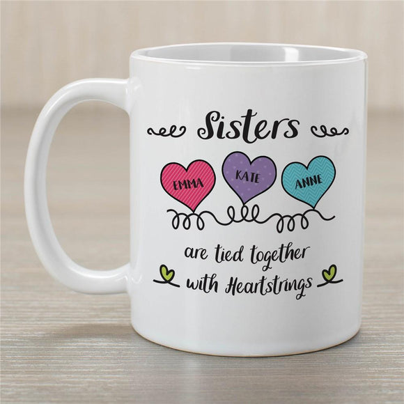 Personalized Sisters Are Tied Together with Heartstrings Coffee Mug-Personalized Gifts