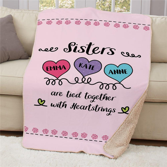 Personalized Sisters Are Tied Together With Heartstrings Sherpa Blanket-Personalized Gifts