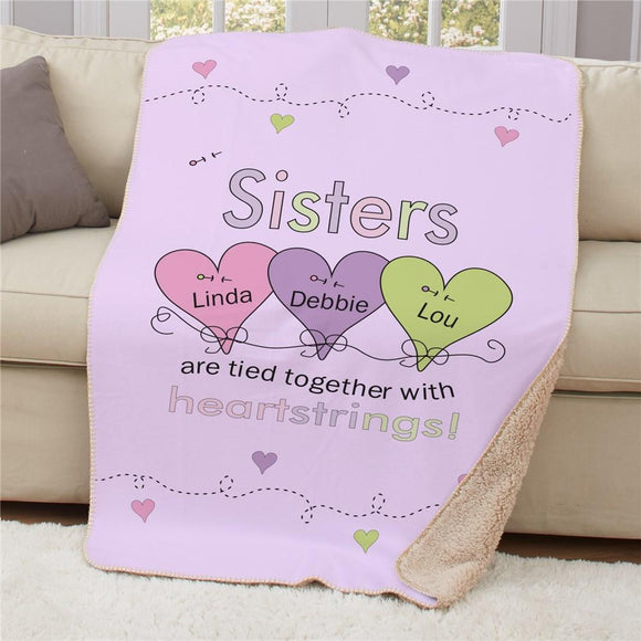 Personalized Sisters Heartstrings Sherpa Blanket-Personalized Gifts