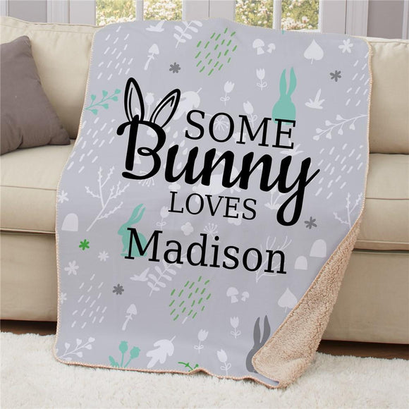 Personalized Some Bunny Loves Sherpa Blanket-Personalized Gifts