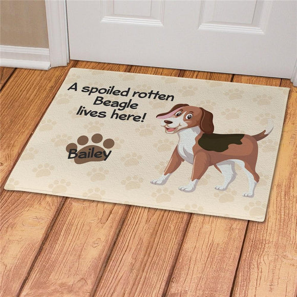 Personalized Spoiled Here Beagle Doormat-Personalized Gifts
