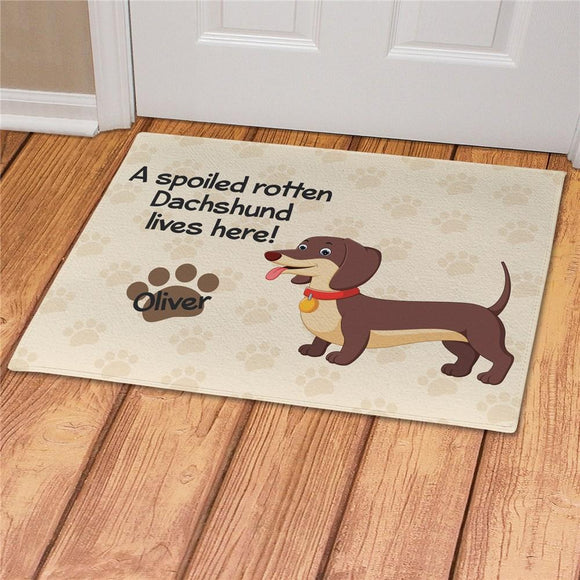 Personalized Spoiled Here Dachshund Doormat-Personalized Gifts
