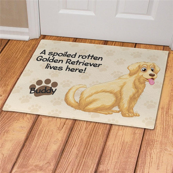 Personalized Spoiled Here Golden Retriever Doormat-Personalized Gifts