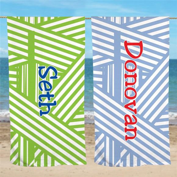 Personalized Stripes Beach Towel-Personalized Gifts