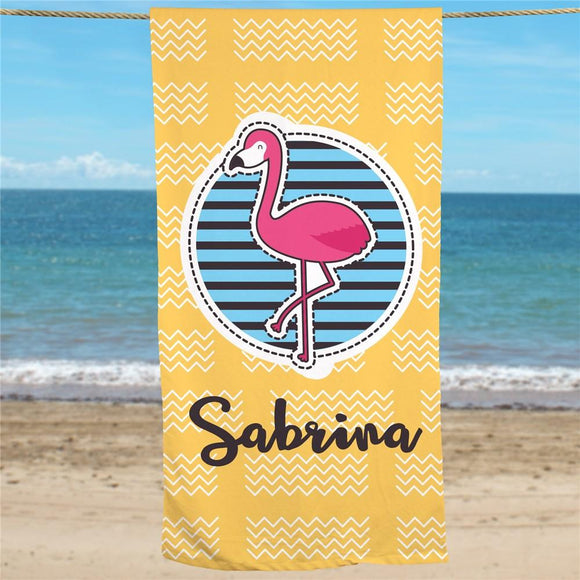 Personalized Summer Flamingo Beach Towel-Personalized Gifts