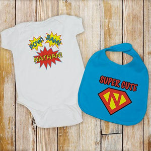 Personalized Super Cute Bib and Creeper Set-Personalized Gifts