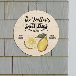 "Personalized Sweet Lemon Farm 13"" Round Sign-Personalized Gifts"