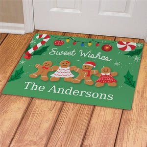 Personalized Sweet Wishes Gingerbread Doormat-Personalized Gifts