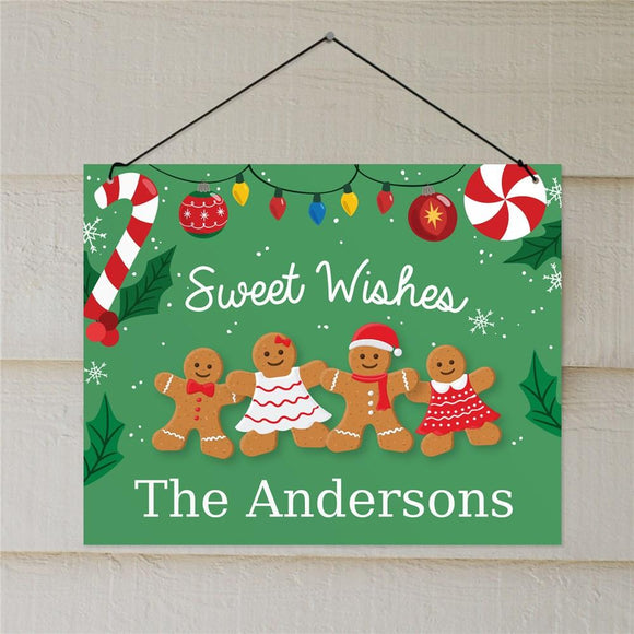 Personalized Sweet Wishes Gingerbread Wall Sign-Personalized Gifts