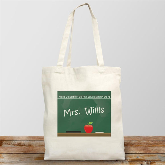 Personalized Teacher Canvas Tote Bag Chalkboard Design-Personalized Gifts
