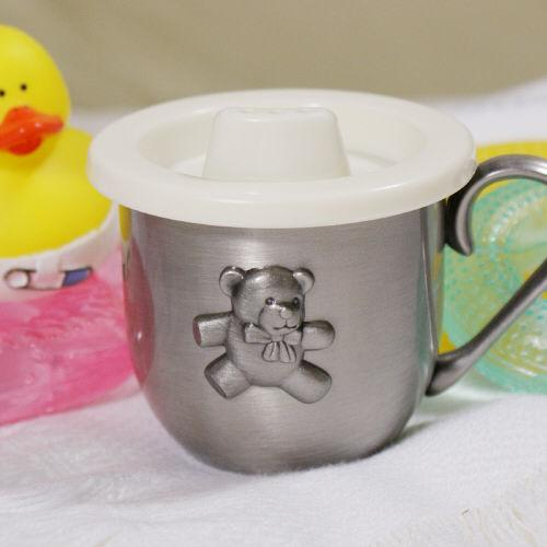 Personalized Teddy Bear Silver Baby Cup-Personalized Gifts