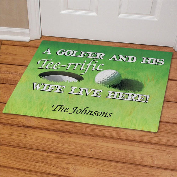 Personalized Tee-rrific Wife Golf Doormat-Personalized Gifts