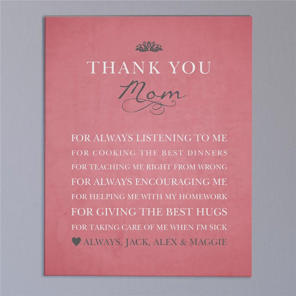 Personalized Thank You Mom Wall Canvas-Personalized Gifts