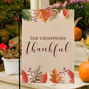Personalized Thankful Garden Flag-Personalized Gifts