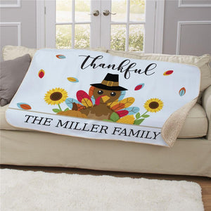 Personalized Thankful Turkey Sherpa Blanket-Personalized Gifts