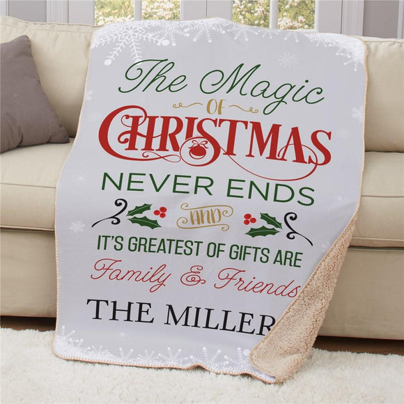 Personalized The Magic Of Christmas Sherpa Blanket-Personalized Gifts