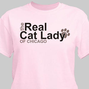 Personalized The Real Cat Lady T-Shirt-Personalized Gifts
