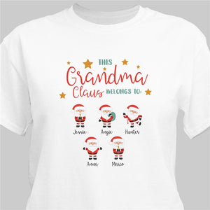 Personalized This Grandma Claus Belongs To T-shirt-Personalized Gifts