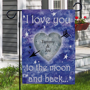 Personalized To The Moon and Back Garden Flag-Personalized Gifts
