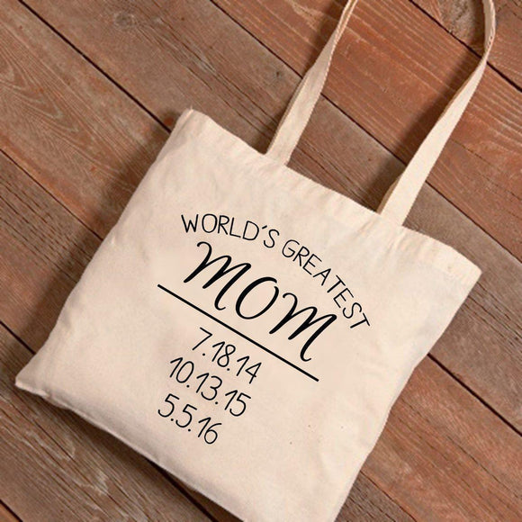 Personalized Tote Bags - World's Greatest Mom - Mother's Day Gifts-Personalized Gifts