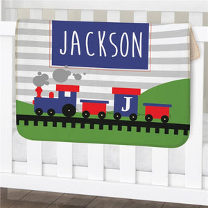 Personalized Train Sherpa Blanket-Personalized Gifts