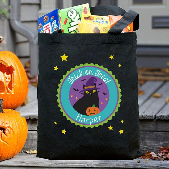 Personalized Trick Or Treat Cat With Pumpkin Bag-Personalized Gifts