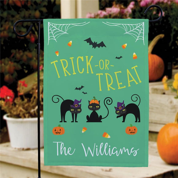 Personalized Trick or Treat Cats Garden Flag-Personalized Gifts