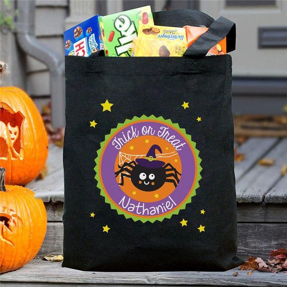 Personalized Trick Or Treat Spider Bag-Personalized Gifts